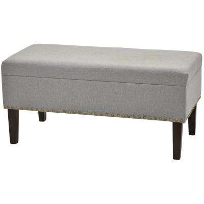 18 in. Gray Wood Storage Bench