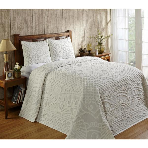 Trevor Collection in Geometric Design Ivory King 100% Cotton Tufted Chenille Bedspread Set