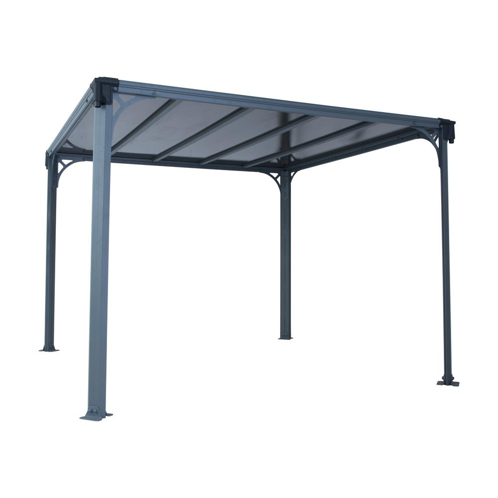 palram milano 10 ft x 10 ft aluminum frame and hard top gazebo 703728 the home depot. Black Bedroom Furniture Sets. Home Design Ideas