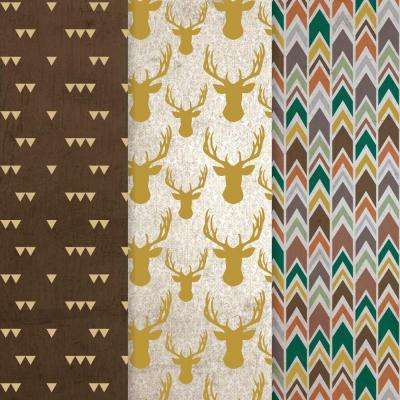 12 in. x 16 in. Decou-Page Paper Gold Stag (3-Pack)