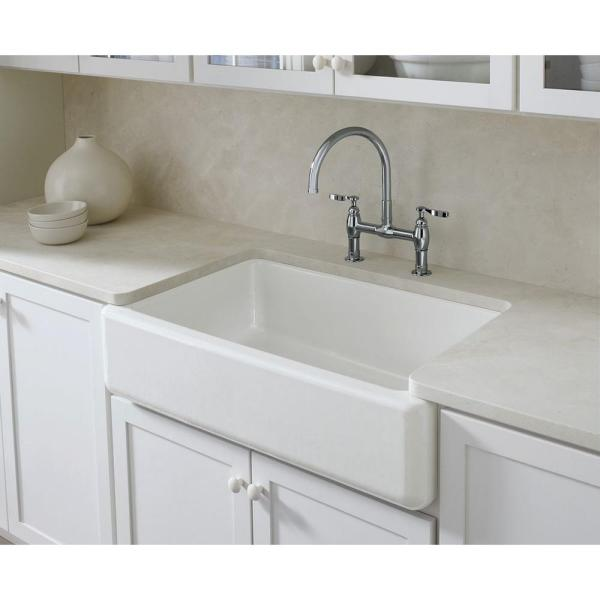 Kohler Whitehaven Farmhouse Undermount Self Trimming Apron Front Cast Iron 36 In Single Bowl Kitchen Sink In White K 6489 0 The Home Depot
