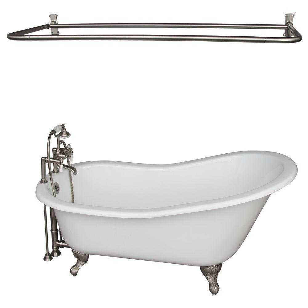 Barclay Products 5 Ft. Cast Iron Ball And Claw Feet Slipper Tub In White  With