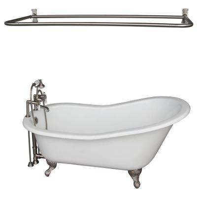 Cast Iron Ball And Claw Feet Slipper Tub In White With Brushed Nickel