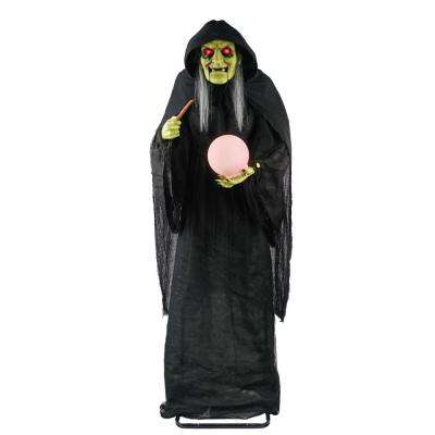 72 in. Animated Standing Spell Making Witch with LED Illuminated Crystal Ball