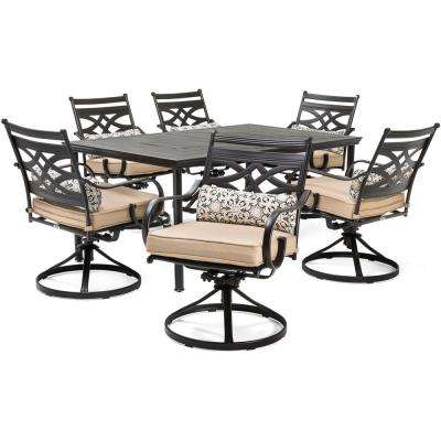 Montclair 7-Piece Steel Outdoor Dining Set with Country Cork Cushions Swivel Rockers and Dining Table