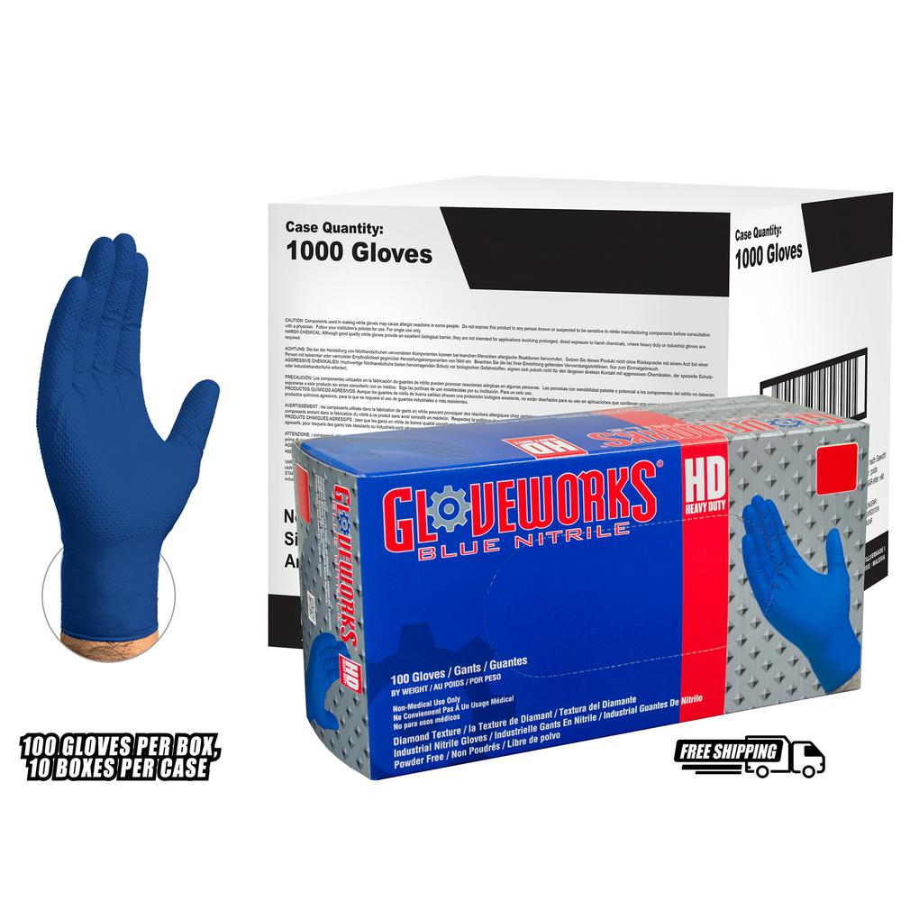 Large Diamond Texture Royal Blue Nitrile Industrial Latex Free Disposable Gloves