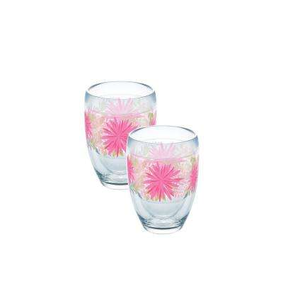 Pink Mums Boho 9 oz. Double-Walled Tritan Stemless Wine Glass (2-Pack)