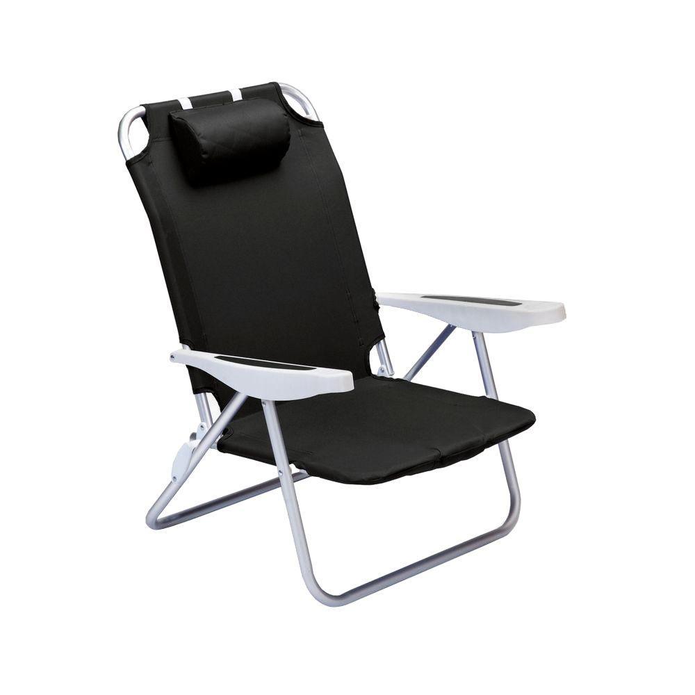 Picnic Time Black Monaco Beach Patio Chair