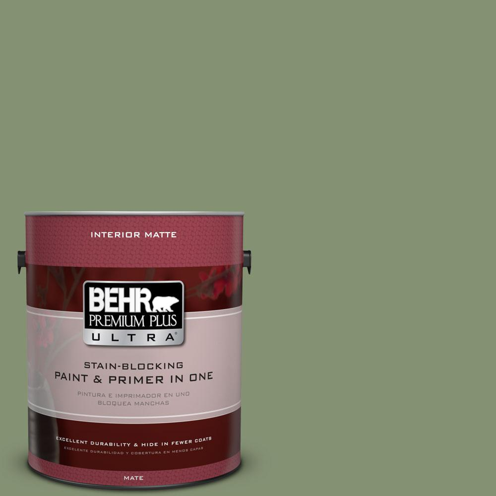 1 gal. #BIC-26 Aloe Plant Matte Interior Paint and Primer in