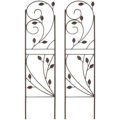 32 in. Brown Steel Plant Design Trellis (Set of 2)