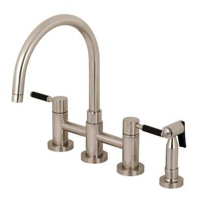 Concord 2-Handle Bridge Kitchen Faucet with Side Sprayer in Brushed Nickel