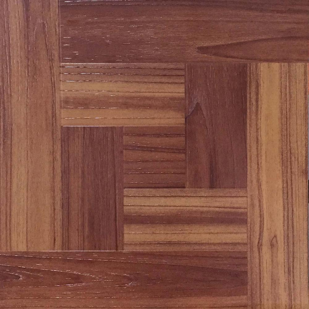 Take Home Sample - Red Oak Parquet Peel and Stick Vinyl Tile Flooring - 5 in. x 7 in.