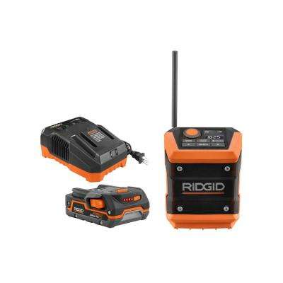 18-Volt Cordless Mini Bluetooth Radio with Radio App with 1.5 Ah Battery and 18-Volt Charger