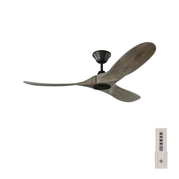 Maverick II 52 in. Indoor/Outdoor Aged Pewter Ceiling Fan with Light Grey Weathered Oak Blades and Remote Control