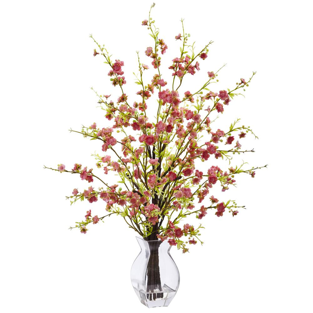 26 in. Cherry Blossom in Glass Vase in Pink