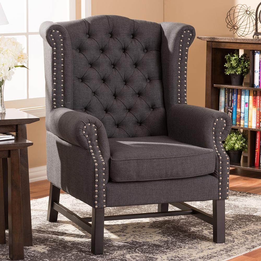 Upholstered Accent Chairs: Baxton Studio Sussex Gray Fabric Upholstered Accent Chair