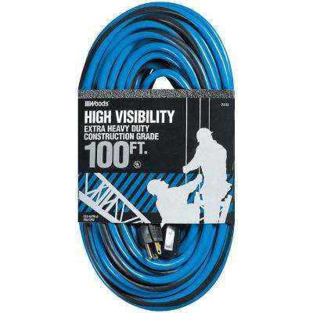 100 ft. 12/3 SJTW Multi-Color Hi-Visibility/Construction Grade Outdoor Heavy-Duty Extension Cord