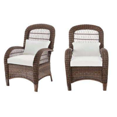 Beacon Park Brown Wicker Outdoor Captain Dining Chair with Cushions Included, Choose Your Own Color (2-Pack)