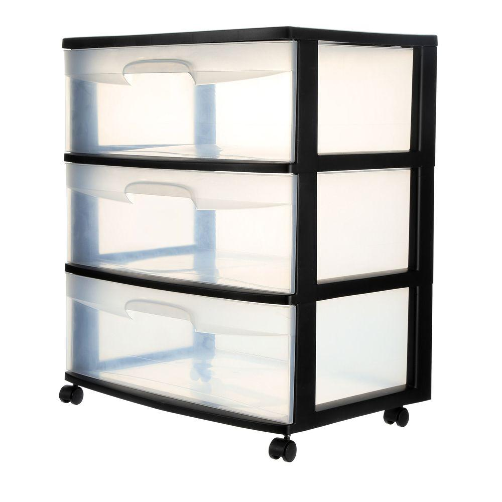 Sterilite 21.88 in. 3-Drawer Wide Cart (1-Pack)