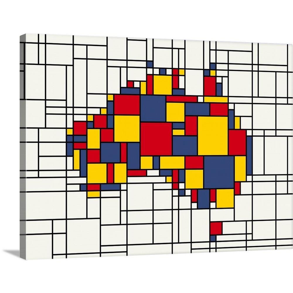 Australia Map Art.Mondrian Inspired Australia Map By Michael Tompsett Canvas Wall Art