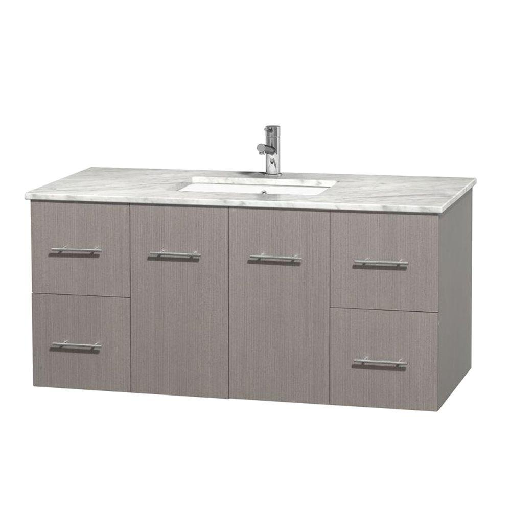 Wyndham Collection Centra 48 in. Vanity in Gray Oak with Marble Vanity Top in Carrara White and Undermount Sink