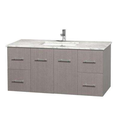 Centra 48 in Vanity in Gray Oak with Marble Vanity Top in Carrara White and