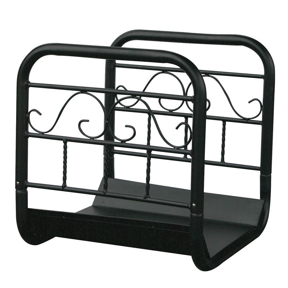 Black Decorative Steel 16.5 in. W Firewood Cart