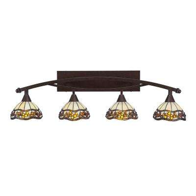 4-Light 40.25 in. Brushed Nickel Vanity Light with 7 in. Roman Jewel Tiffany Glass