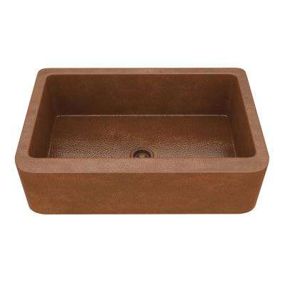 Olive Farmhouse Handmade Copper 33 in. Single Bowl Kitchen Sink in Hammered Antique Copper