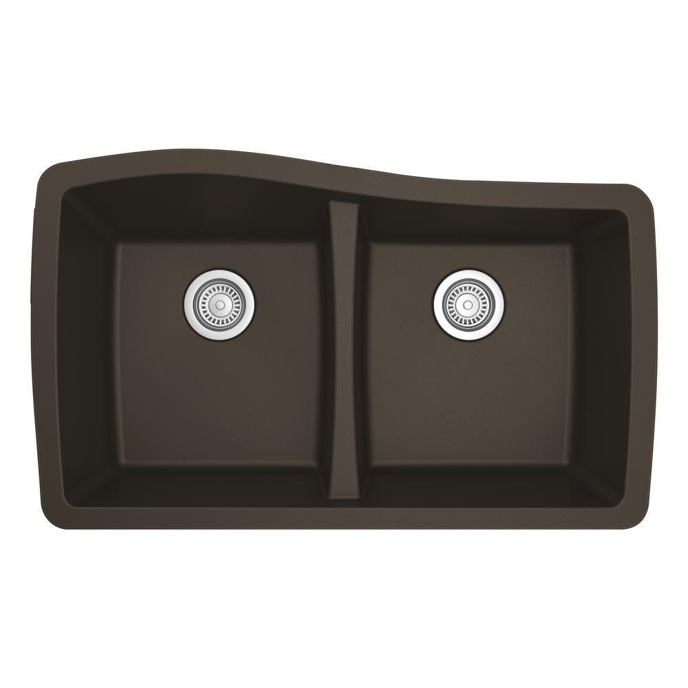 Undermount Quartz Composite 33 in. 50/50 Double Bowl Kitchen Sink in Brown