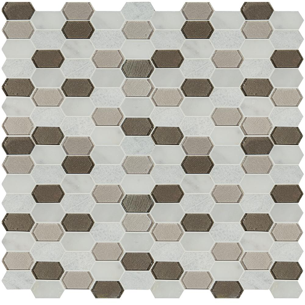 MSI Inessa Blanco Picket Pattern 12 in. x 12 in. x 8mm Glass and Stone Mesh-Mounted Mosaic Tile (10 sq. ft. / case)