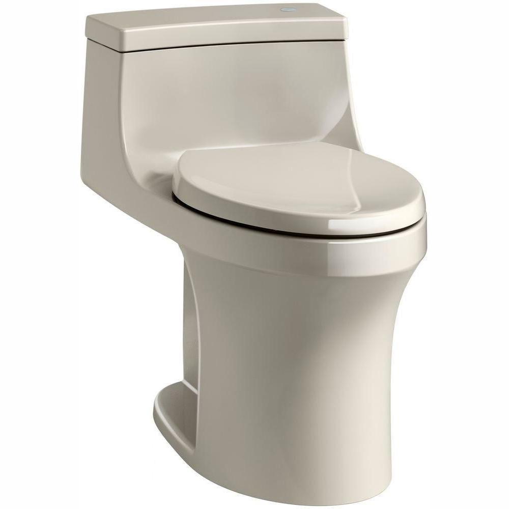 San Souci Touchless Comfort Height 1-Piece 1.28 GPF Single Flush Elongated Toilet with AquaPiston Flush in Sandbar