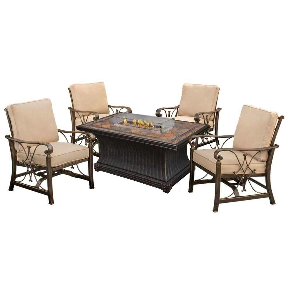 Belle Pierre 6-Piece Metal Fire Pit Patio Conversation Set with Oatmeal