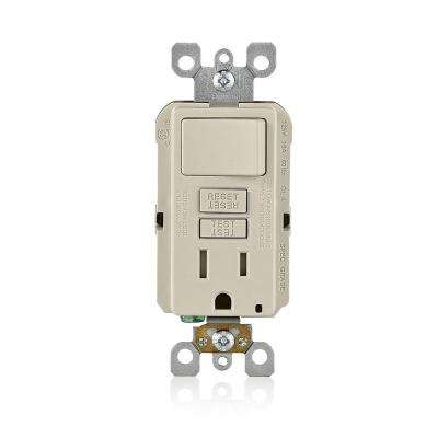 15 Amp SmartlockPro Combination GFCI Outlet and Switch, Light Almond