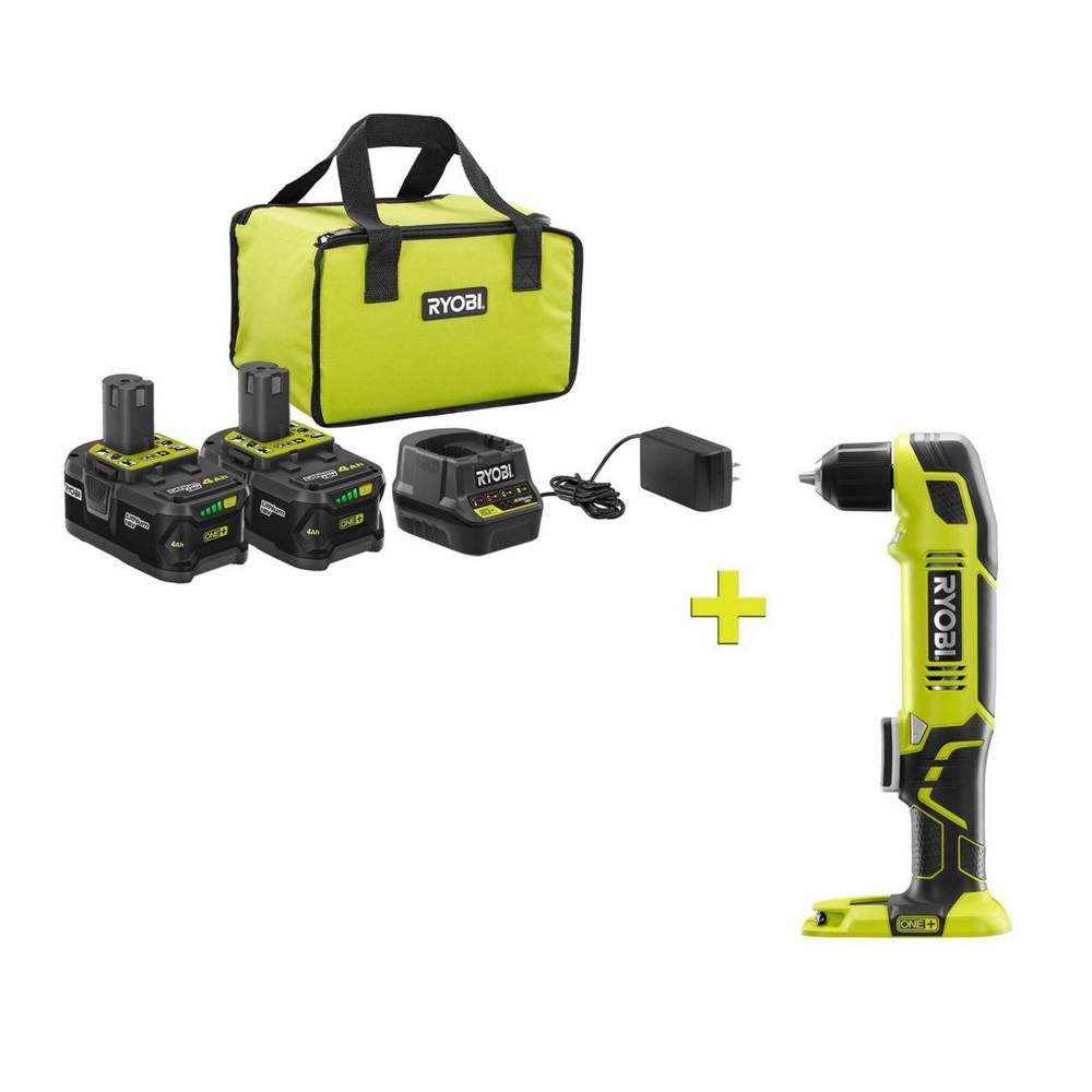 RYOBI 18-Volt ONE+ High Capacity 4.0 Ah Battery (2-Pack) Starter Kit with Charger and Bag with FREE ONE+ Right Angle Drill was $301.0 now $99.0 (67.0% off)