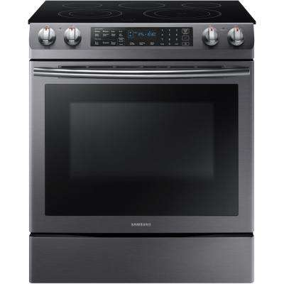 5.8 cu. ft. Slide-In Electric Range with Self-Cleaning Dual Convection Oven in Black Stainless Steel