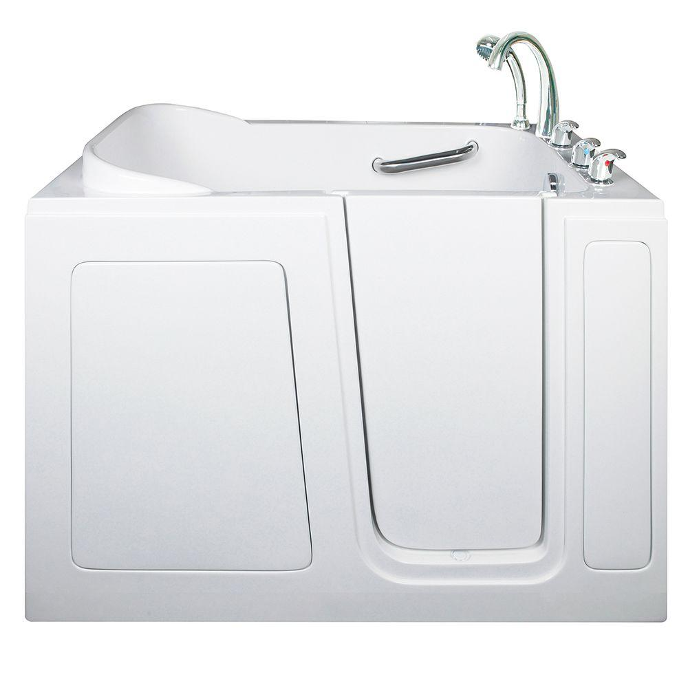 Ella Short 4 ft. x 28 in. Walk-In Air Massage Bathtub in White with ...