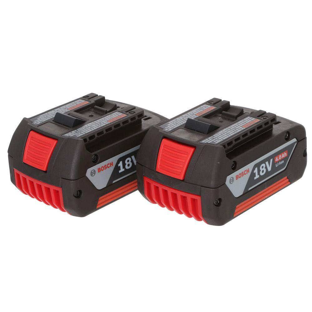 bosch 18 volt lithium ion 4 0 ah battery 2 pack bat620 2pk the home depot. Black Bedroom Furniture Sets. Home Design Ideas
