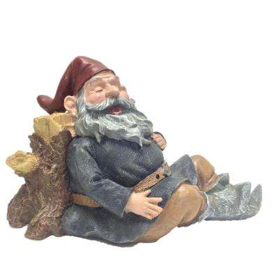 12 in. Motion Activated Snoring Merlin the Gnome Lying Against a Tree Stump Statue