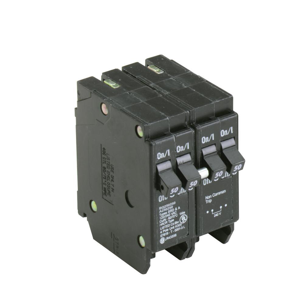 Eaton BR 2-50 Amp 2-Pole BQ (Independent Trip) Quad Circuit Breaker