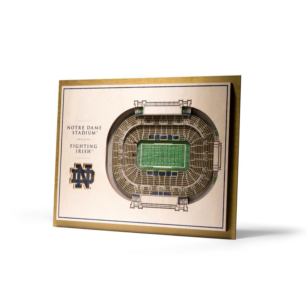 YouTheFan NCAA Notre Dame Fighting Irish 5-Layer Stadiumviews 3D Wooden Wall