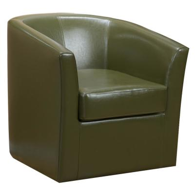 Daymian Tea Green PU Leather Swivel Club Chair