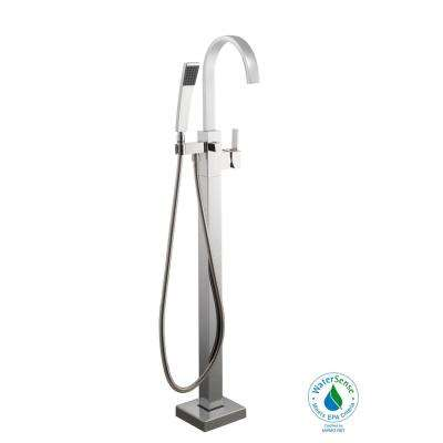 Modern Single-Handle Freestanding Floor Mount Tub Faucet with Handheld Handshower in Chrome