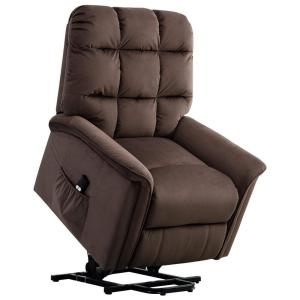 Chocolate Powel Lift Recliner Chair with Remote Control for Elderly,Heavy Duty and Soft Fabric Sofa for Living Room
