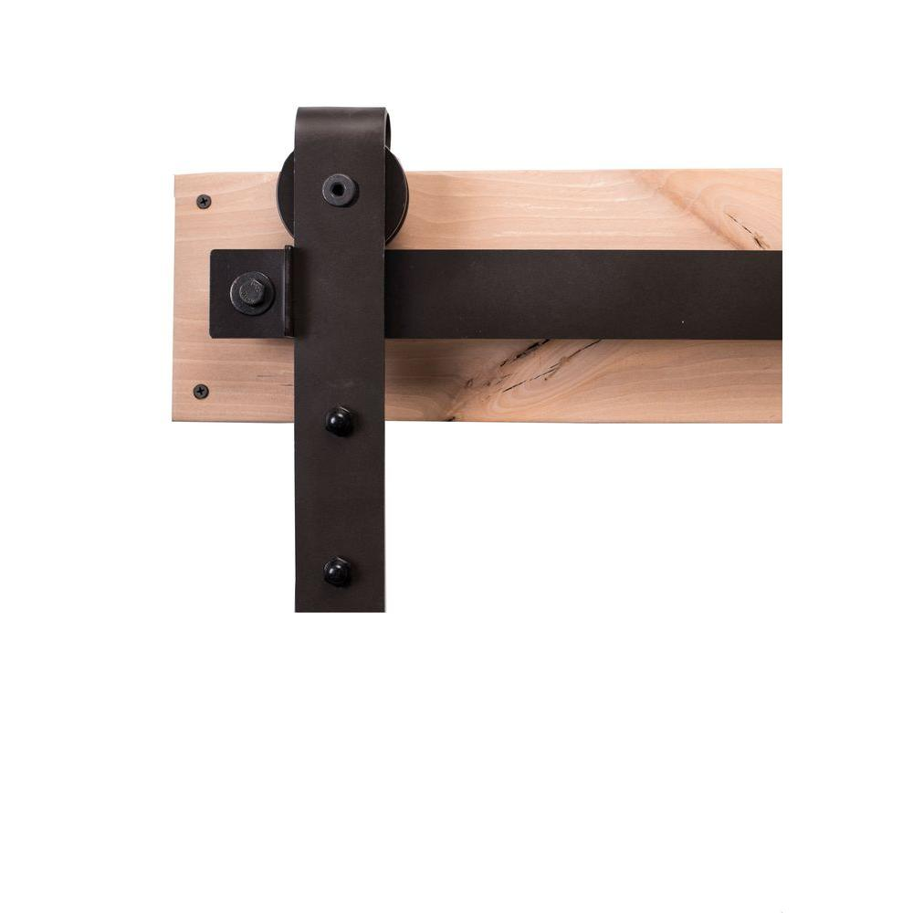 Rustica Hardware 84 in. Dark Bronze Sliding Barn Door Hardware Kit with Industrial Hangers and Industric Pull