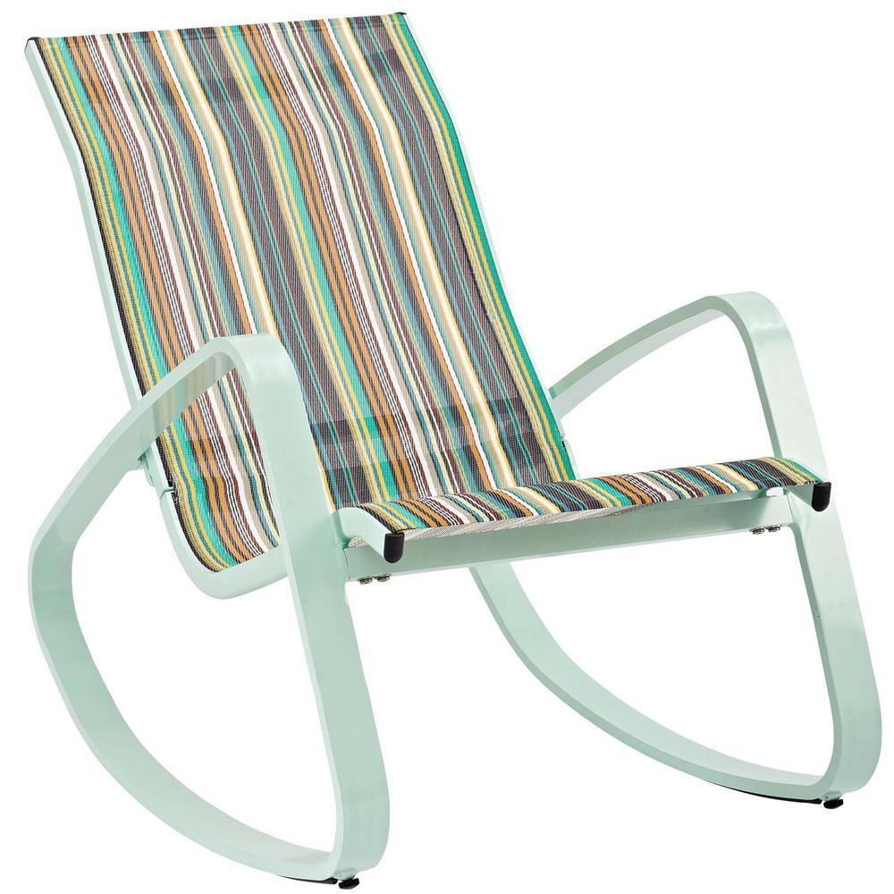 Traveler Green Stripe Rocking Sling Outdoor Lounge Chair