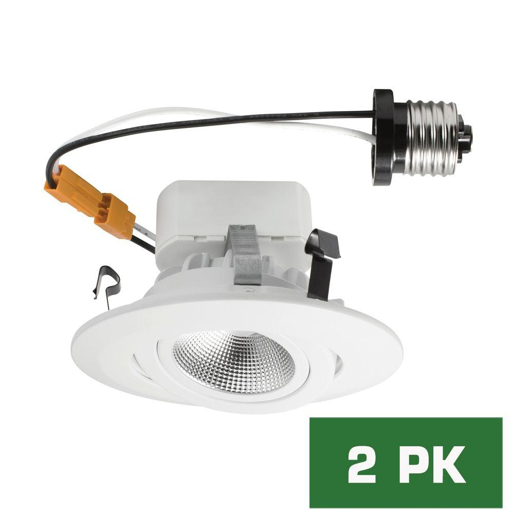 Envirolite 4 in bright white led recessed directional gimbal trim bright white led recessed directional gimbal trim 96 cri ceiling light evl4742awh40 the home depot aloadofball Image collections