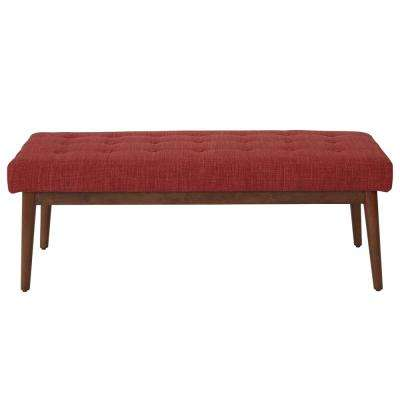 West Park Berry Fabric with Coffeeed Legs Bench
