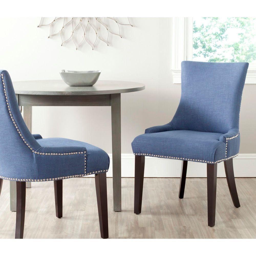 Safavieh Lester Blue Cotton Blend Dining Chair (Set of 2) MCR4709AE-SET2