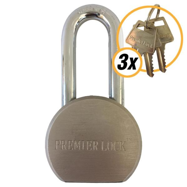 2-5/8 in. Premier Solid Steel Commercial Gate Keyed Padlock with Long Shackle and 3 Keys